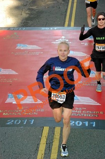 Crossing Marine Corps marathon carpet