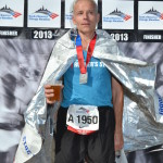 Sipping beer after Chicago marathon