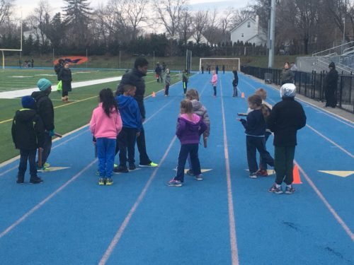 Grades K-3 at their first track practice of 2017